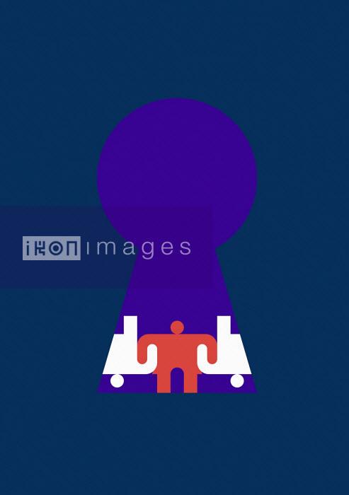 Interlocking stick figures through keyhole - Grundini