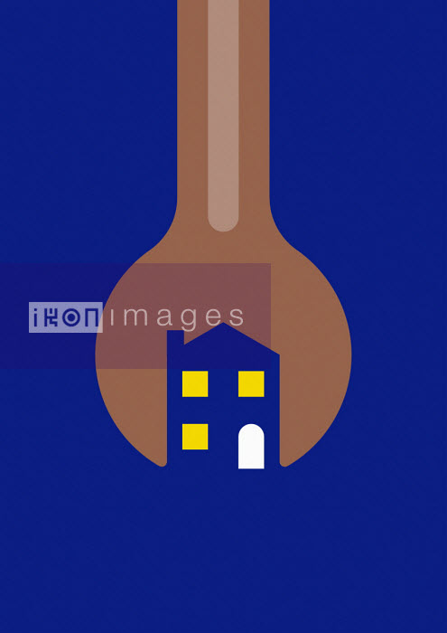 Illuminated house formed within spanner - Grundini
