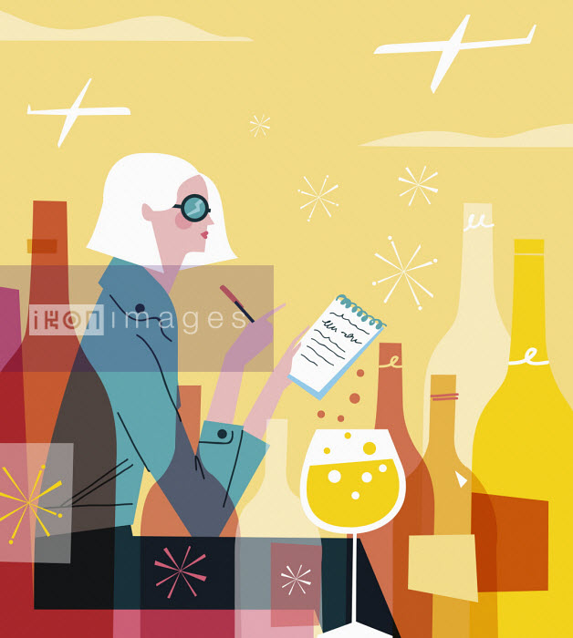 Fashionable woman writing list drinking wine - Verónica Grech