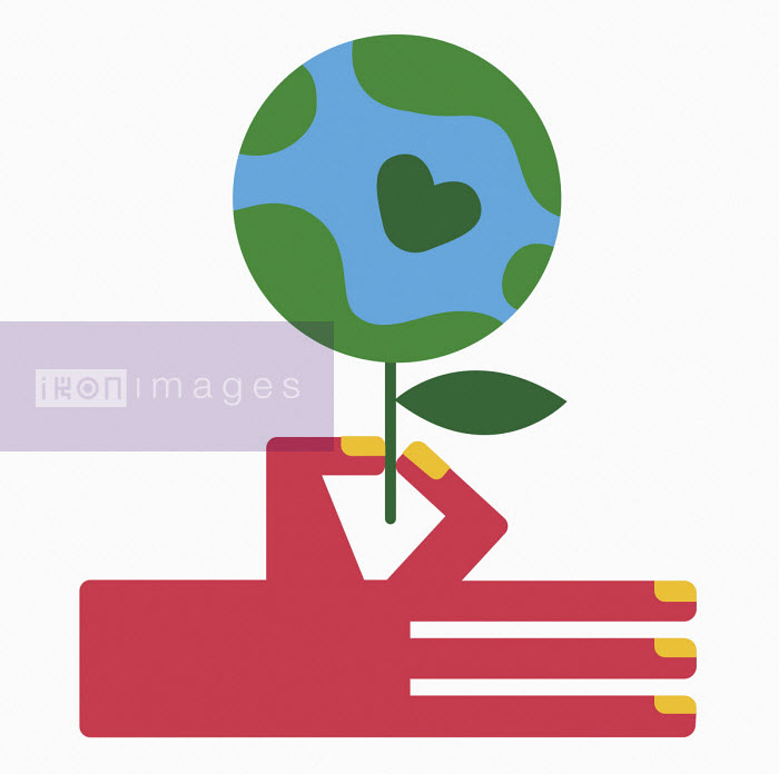 Hand holding globe as flower with heart shape - Verónica Grech