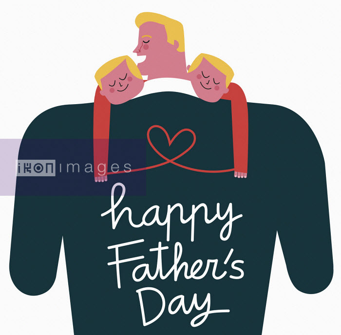 Father holding sons with Happy Father's Day on sweater - Verónica Grech