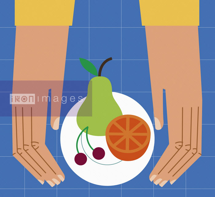 Hands with healthy fruit on plate - Verónica Grech