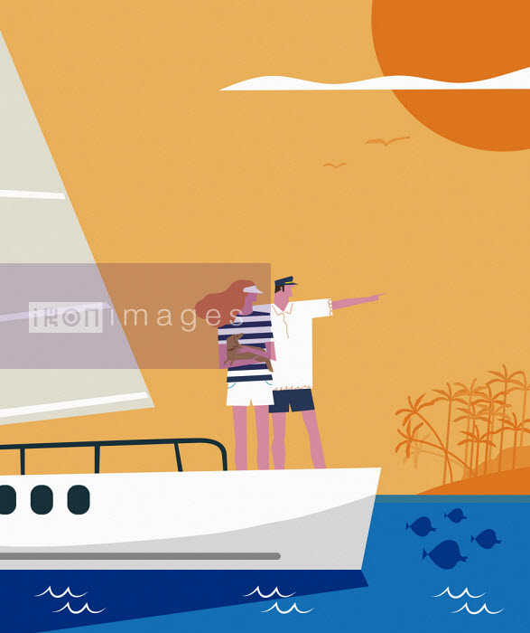 Couple on deck of sailing yacht - Verónica Grech