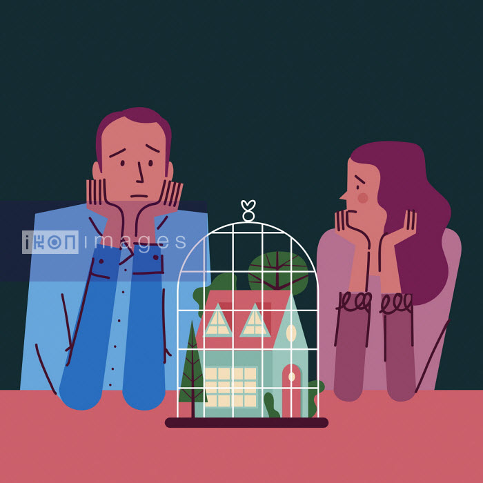 Sad couple looking at house in cage - Verónica Grech