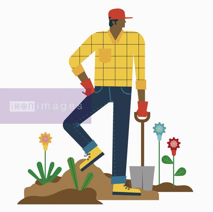 Man resting digging garden - Verónica Grech