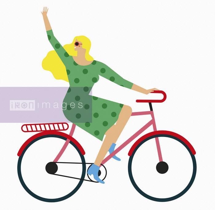 Woman waving riding bike - Verónica Grech