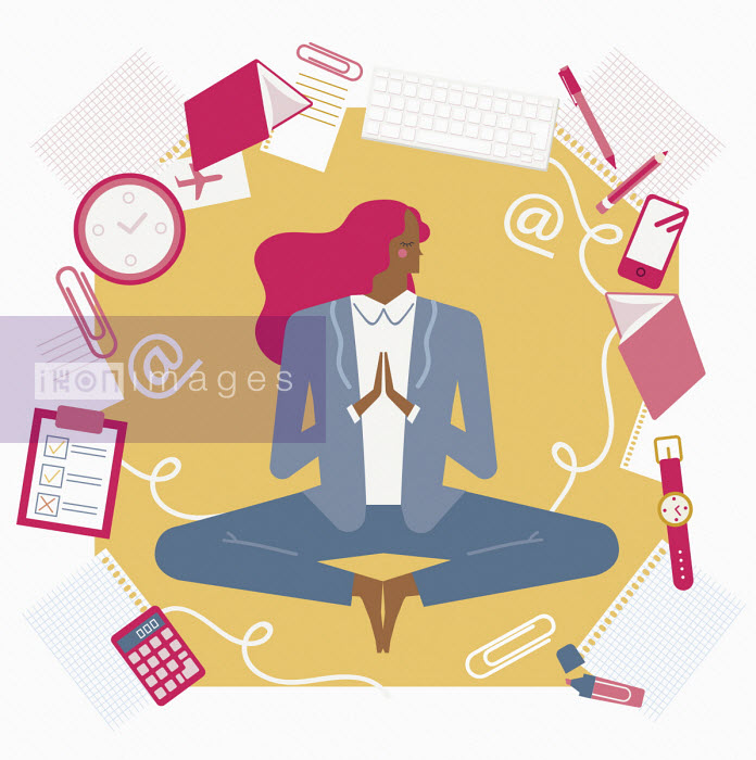 Busy businesswoman keeping calm with yoga - Verónica Grech