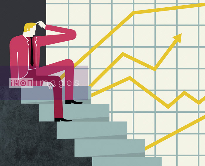 Confused businessman studying different graph forecasts - Verónica Grech