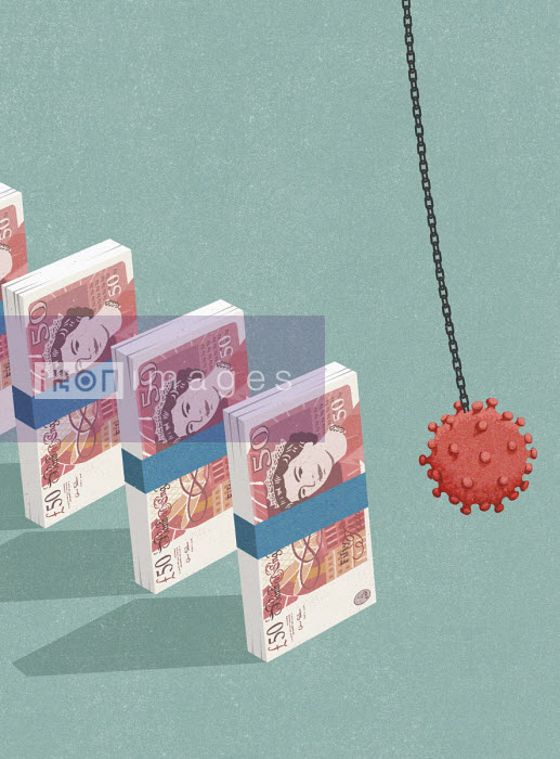 Coronavirus wrecking ball collapsing bundles of British banknotes - John Holcroft