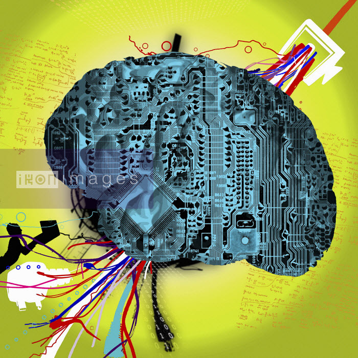 Brain in shape of a motherboard, data and person using laptop - Chris Keegan