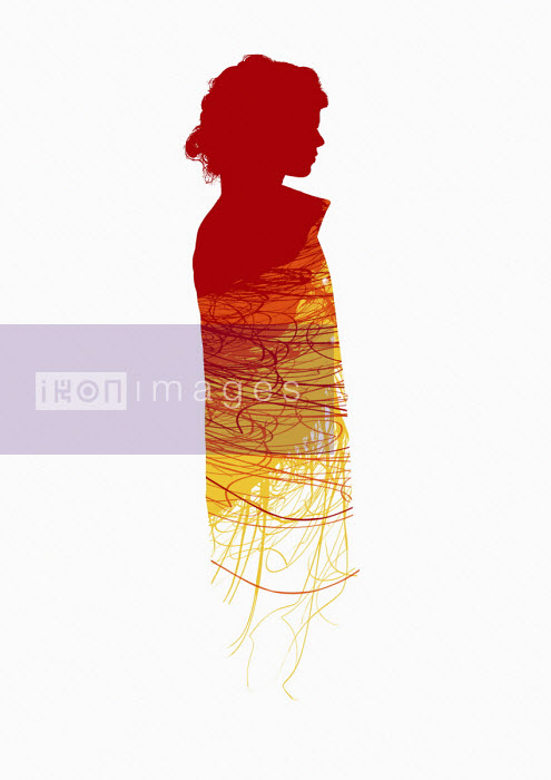 Abstract red pattern on woman's outline - Chris Keegan