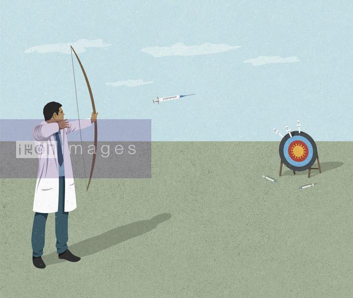 Scientist aiming syringe arrows at coronavirus target - John Holcroft