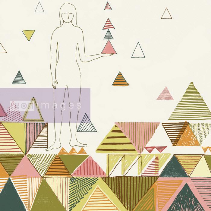 Woman balancing triangle shapes - Trina Dalziel