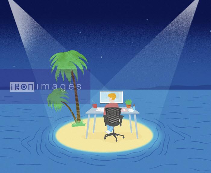 Man remote working on desert island - Mitch Blunt