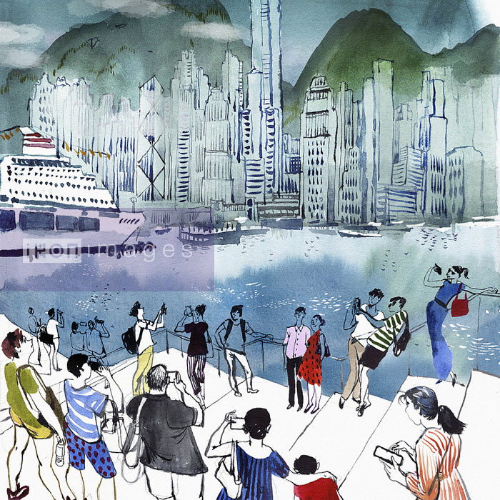 Tourists taking photographs of Hong Kong Island from Kowloon - Victoria Tentler-Krylov