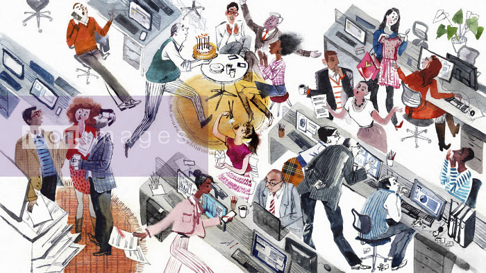 Busy office scene with lots of people taking time off - Victoria Tentler-Krylov