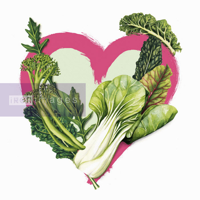 Green vegetables and heart shape - Amanda Dilworth