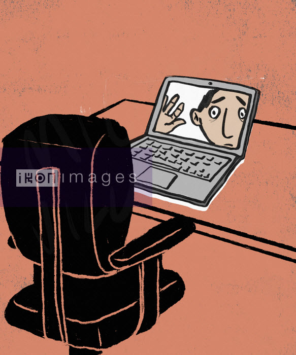 Anxious man looking out from computer screen at empty office chair - Michael Villegas