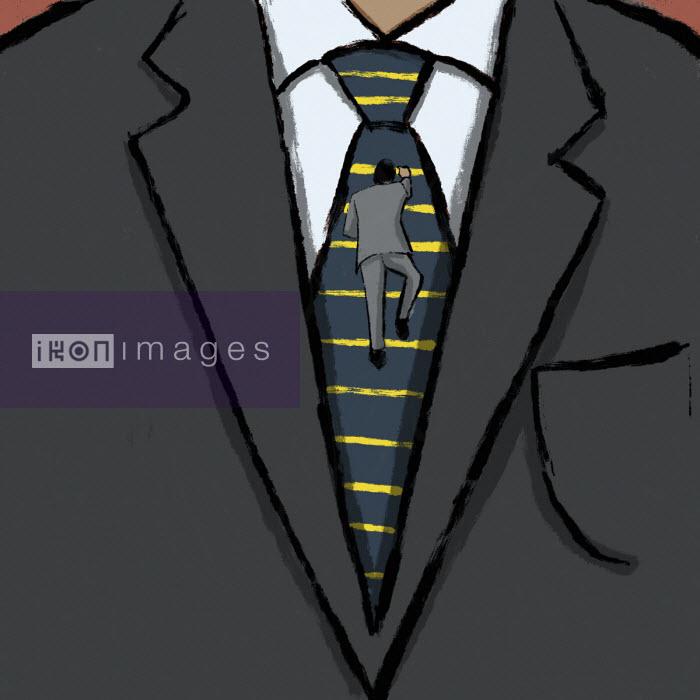 Small businessman climbing ladder on large businessman's tie - Michael Villegas
