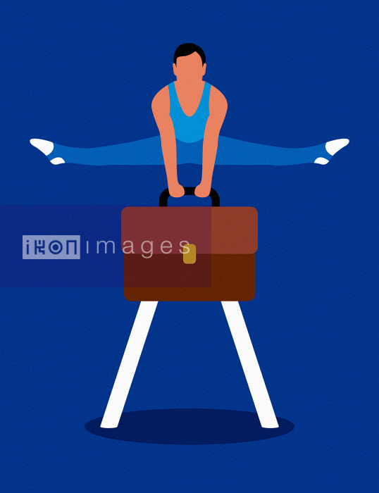 Gymnast balancing on briefcase pommel horse - Patrick George
