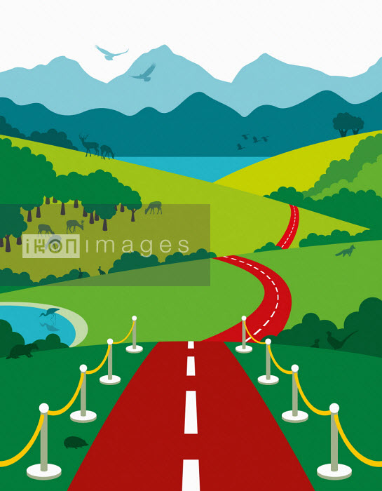 Red carpet road leading into countryside - Patrick George