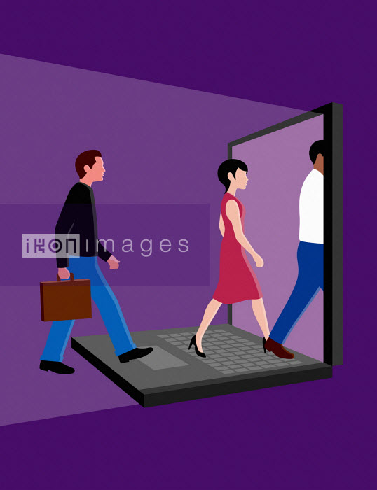 Business people entering computer screen - Patrick George