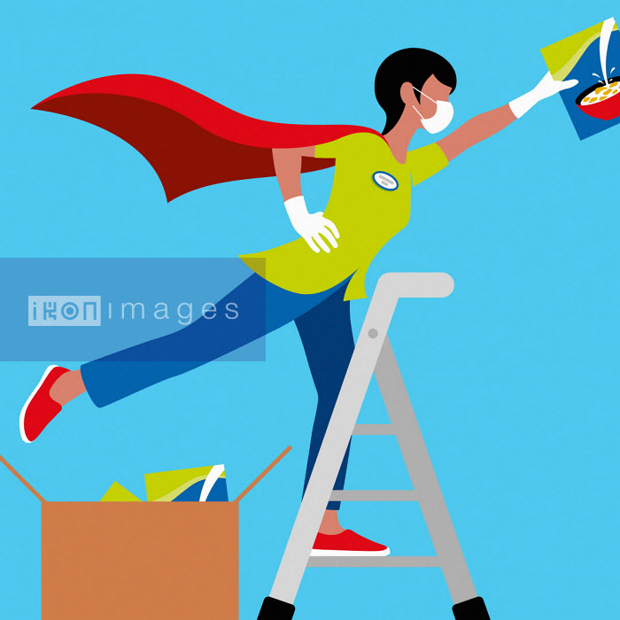 Superhero shop worker stacking shelves - Patrick George