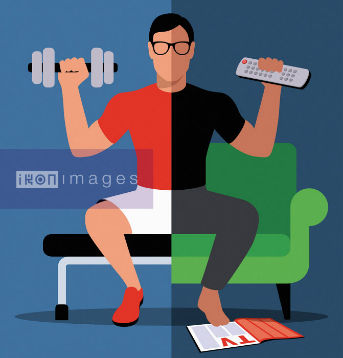 Split screen of man exercising at home and at the gym - Patrick George