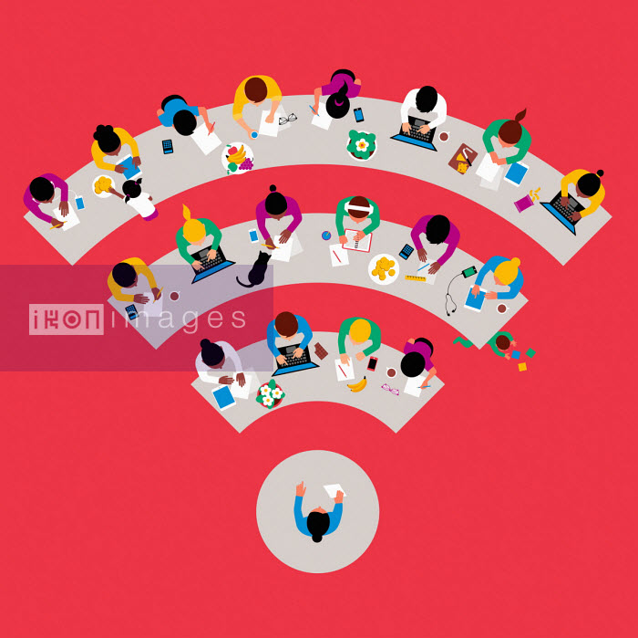 Overhead view of children studying at home on wifi symbol - Patrick George