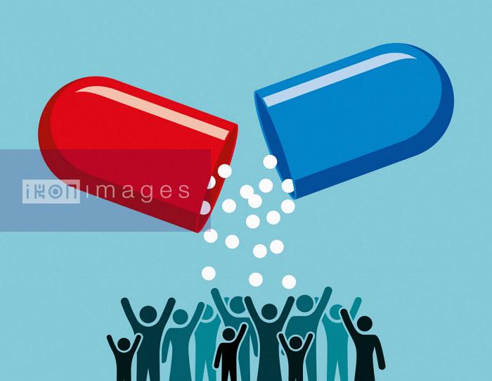 Large capsule pouring medicine on people below - Patrick George