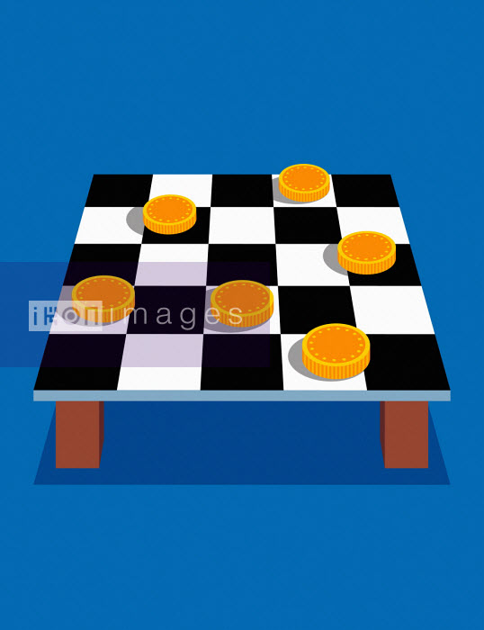 Coins on checkers board - Patrick George
