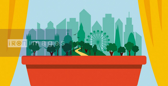 London skyline and green space in window box - Patrick George