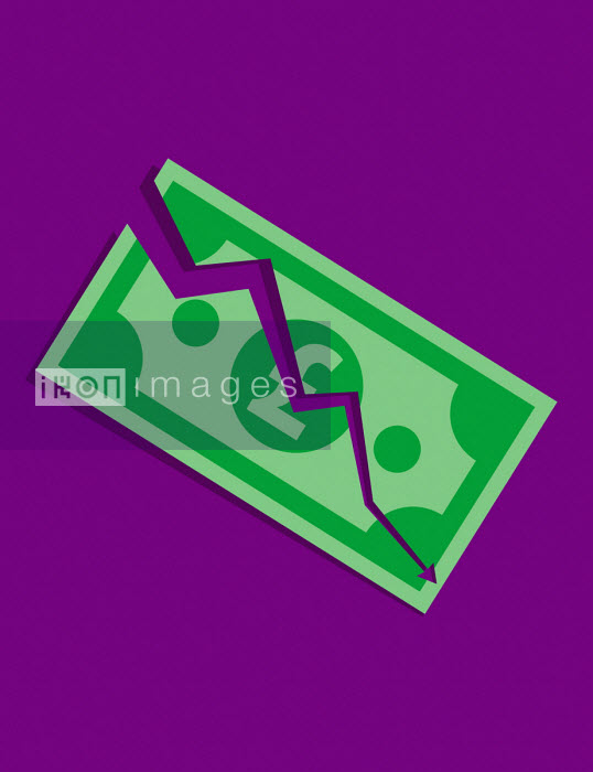 Downward arrow tearing pound note - Patrick George