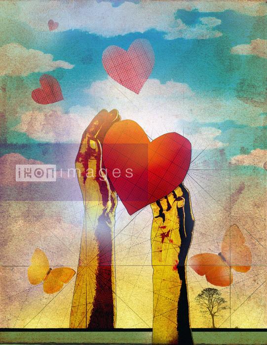 Hands releasing hearts as butterflies - Roy Scott