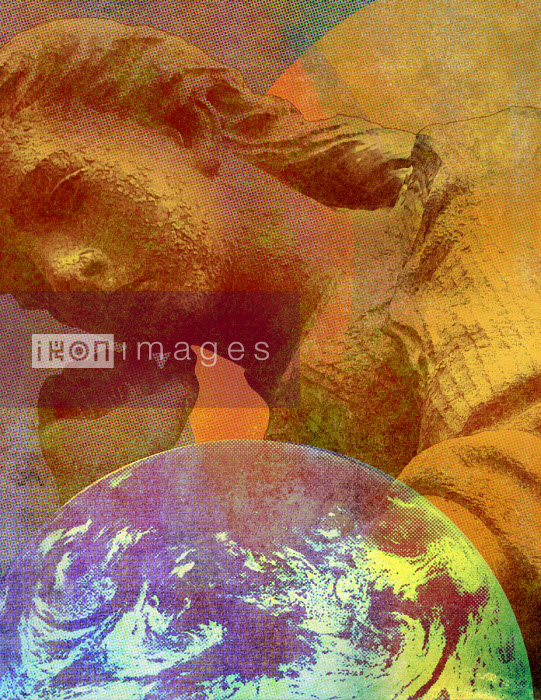 Pensive statue and planet earth - Roy Scott