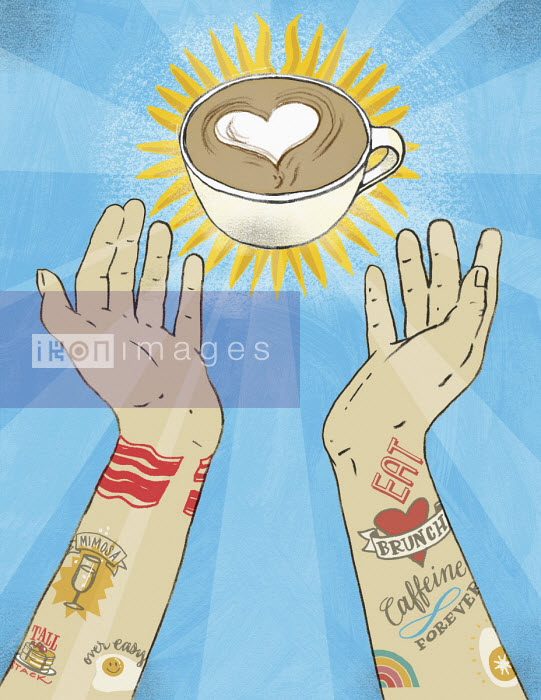 Tattooed arms reaching out for cup of barista coffee - Leigh Wells