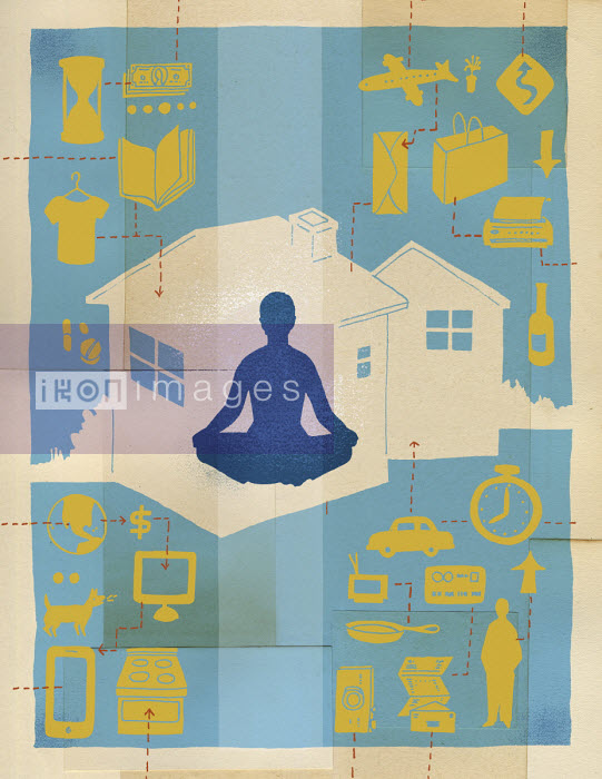 Woman meditating surrounded by busy lifestyle - Leigh Wells