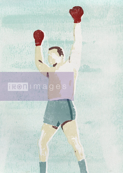 Winning boxer with arms raised - Daniel Haskett