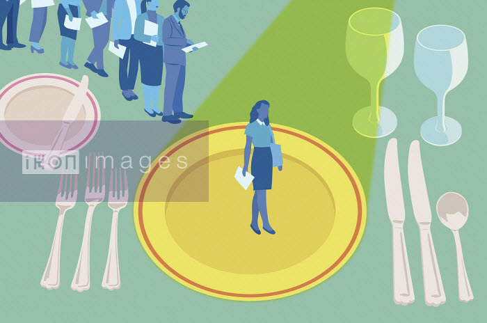Queue of people waiting to be interviewed on dinner place setting - Mitch Blunt
