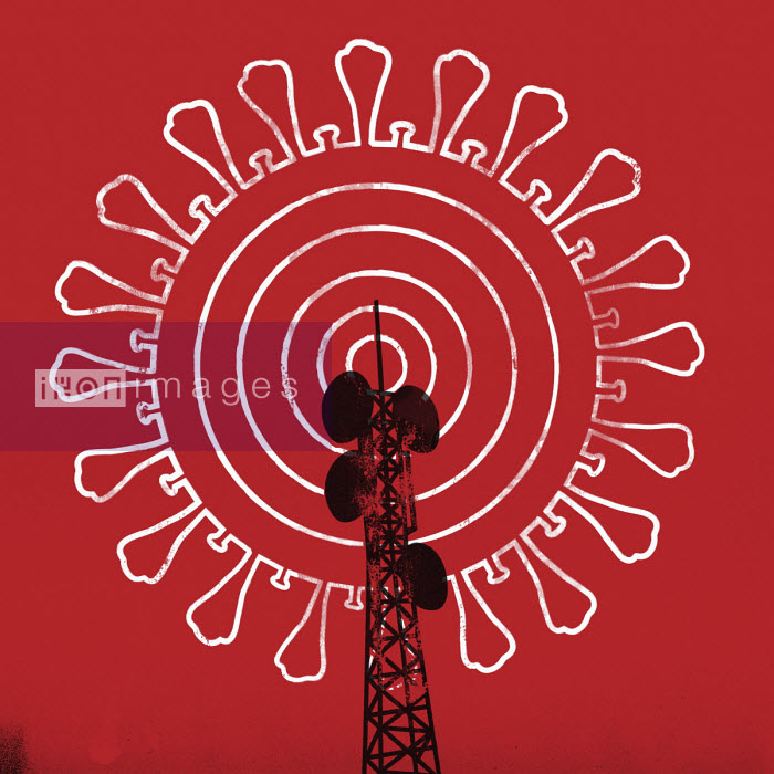 Transmitter mast with coronavirus radio waves - Mitch Blunt