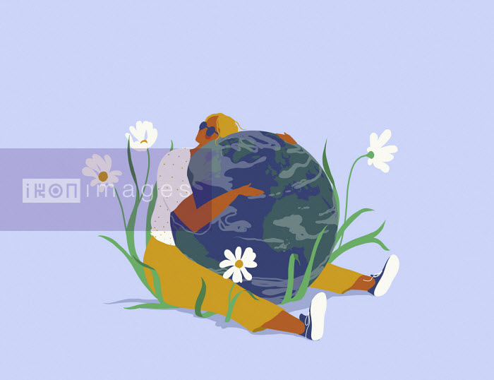 Woman hugging planet earth - Alice Mollon