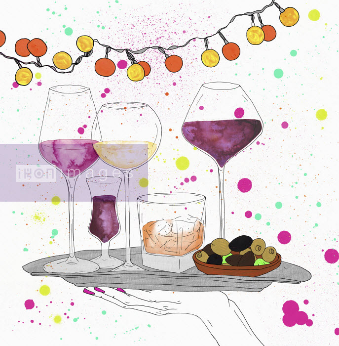 Party drinks and nibbles on tray - Sarah Beetson