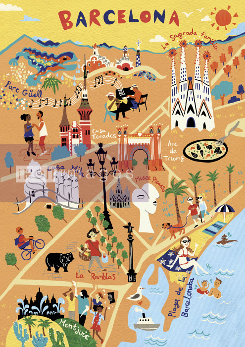 Illustrated map of Barcelona - Vicky Scott