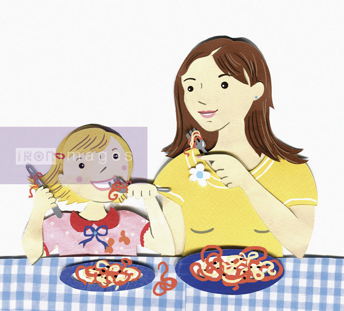 Mother and daughter eating spaghetti together - Vicky Scott