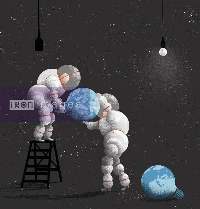 Men in spacesuits changing broken planet earth light bulb - Maguma