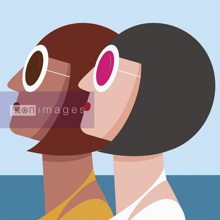 Two matching women looking up in sunglasses - Nick Diggory