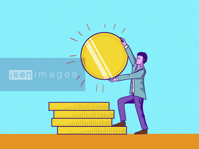 Man adding large gold coin to pile - Ollie Brown
