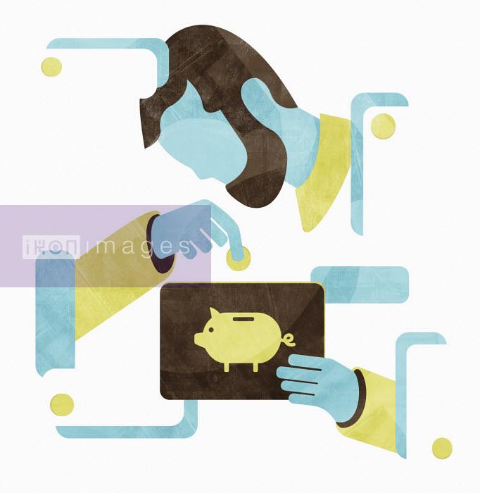 Man inserting money into piggy bank on tablet pc - Andrea Ebert