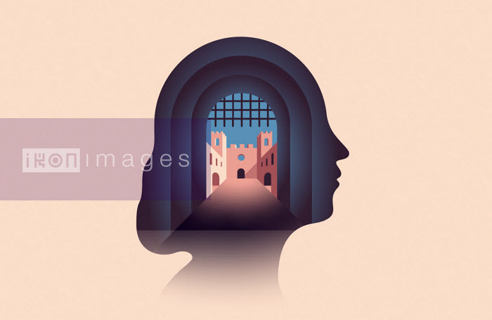 Fortress entrance inside of woman's head - Harry Haysom