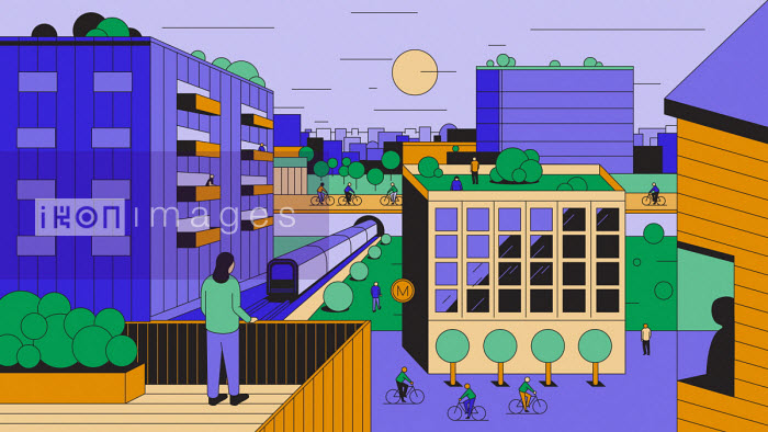 People on roofs and balconies looking out over car-free city - Harry Haysom